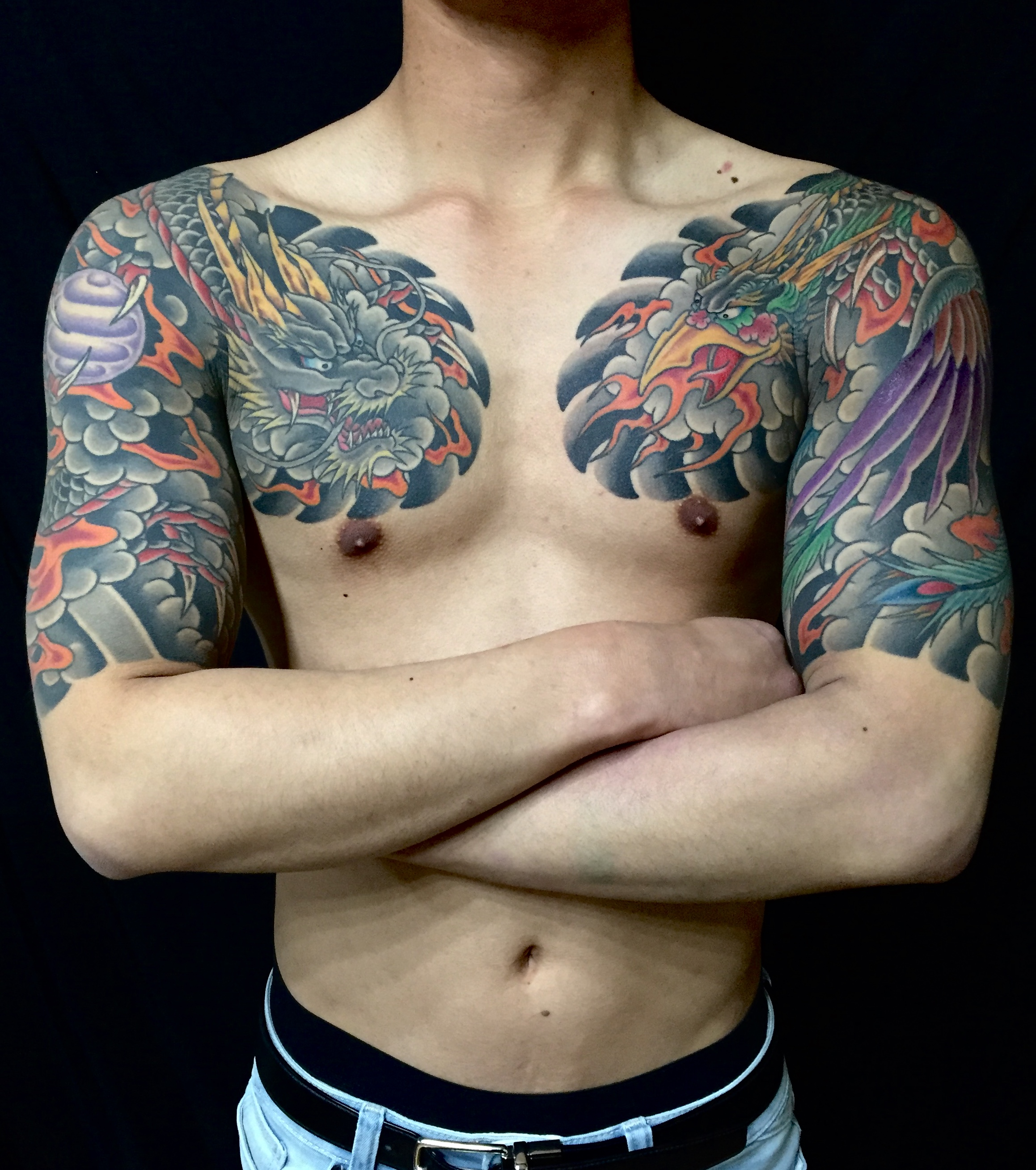 japanese style phoenix and dragon half sleeves