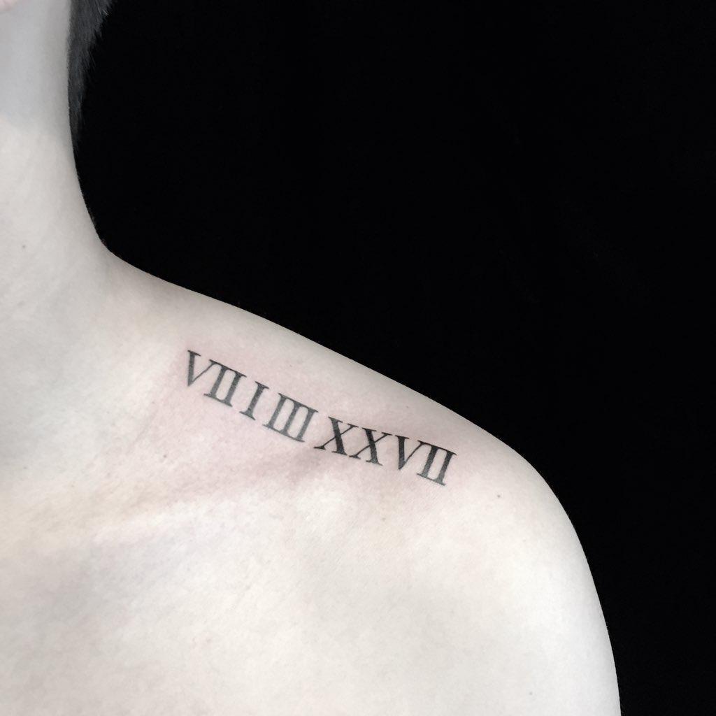 ローマ数字 レタリング 肩 タトゥー